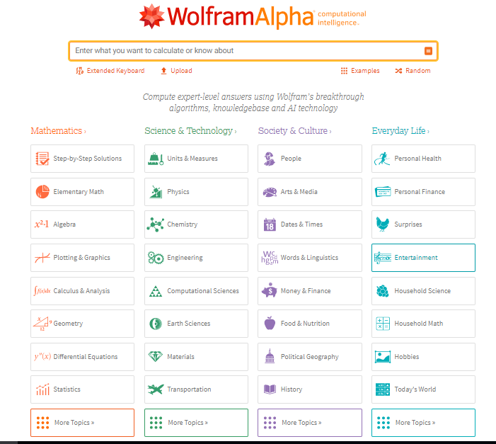 Wolfram Alpha in all scientific fields such as physics, chemistry, mathematics, astronomy, geology, life sciences, medicine, history
